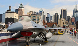 F-16 fighter jet on USS Intrepid Stock Image