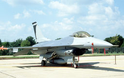 F-16 Fighting Falcon. An F-16 Fighter Jet at a military base Stock Photos