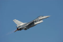 F-16 Fighting Falcon with afterburner Royalty Free Stock Image