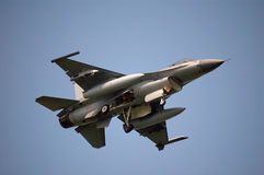 F-16, fly by. Fly by from F16, landing gear is visible Royalty Free Stock Photography