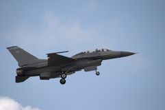 F-16 Landing. An F-16 jet coming in for a landing Stock Images