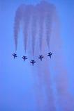 F-16 que forma una cortina Foto de archivo libre de regalías