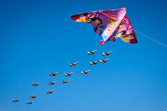 F-16 squadron fly over and a comet Royalty Free Stock Photography