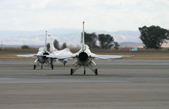 F-16 Take Off. F-16's getting ready to go air born royalty free stock photo