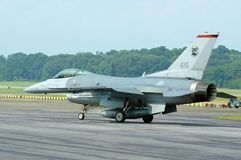 F-16 Taxiing. An F-16D Fighting Falcon taxiing on a runway at an airbase,  getting ready for take-off Stock Photo