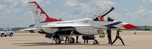F-16 Thunderbird on tarmac Stock Photo