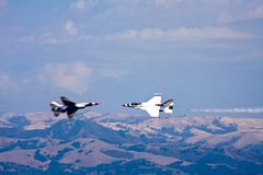 F-16 Thunderbirds. Close call by two solo pilots Stock Photography
