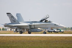 An F/A-18 fighter jet taxiing. Punta Gorda, Fl.- March 21: A U.S. Air Force F/A-18 fighter jet taxiing to take off during the Florida International Airshow on Stock Photography
