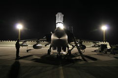 F-18 Hornet jet. F-18 Hornet in night scenery royalty free stock image