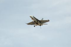 F/A-18 Hornet Landing. A F/A-18 Hornet comes in to land Stock Photo