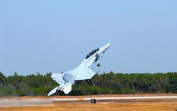 F-18 jet in a steep takeoff Stock Image