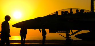 F-18 Super Hornet Sunset Launch Stock Photo