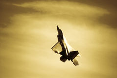 F-22 Raptor. Climbing. Sepia Tone Stock Photo