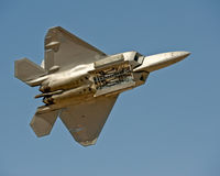 F-22 Raptor aircraft in flight stock photography
