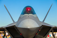 F-22 Raptor jet airplane. Close up view of the American military F-22 Raptor stealth fighter jet airplane royalty free stock photo