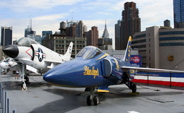 F-3 and F-11 jets on USS Intrepid Royalty Free Stock Image