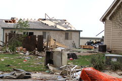 F-3 tornado damage. Results of a f-3 tornado passing through a small colorado town and the clean up needed stock photo