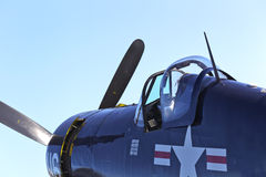 F-4 Corsair WWII Aircraft. Nostalgic F-4 Corsair WWII aircraft at an air show stock image