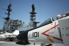 An F-4 Phantom. And the USS Midway Island Superstructure, San Diego, California, taken July 15, 2009 Stock Photography