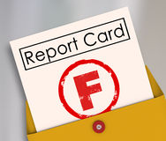 F不及格比分报告卡恶劣的表现失败 免版税库存图片