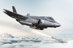 F-35 Advanced military aircraft locking on target and firing Missile`s . 3d rendering stock illustration
