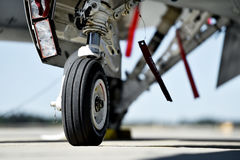 F16 aircraft detail with landing gear Stock Images