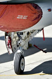 F16 aircraft detail with landing gear Royalty Free Stock Photos