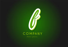 F alphabet letter logo green 3d company vector icon design Royalty Free Stock Images