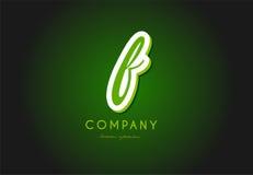 F alphabet letter logo green 3d company vector icon design. F alphabet letter hand written hand writing green white logo 3d vector creative company icon design royalty free illustration