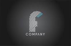 F alphabet line stripe white blue letter logo icon design Stock Photo