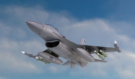 F -16 , american military fighter plane.Jet plane. Fly in clouds.  Stock Photography