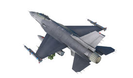 F -16 , american military fighter plane.Jet plane. Fly in clouds.  Stock Photo