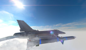 F -16 , american military fighter plane.Jet plane. Fly in clouds.  Royalty Free Stock Image