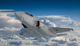 F 35 , american military fighter plane.Jet plane. Fly in clouds Stock Images