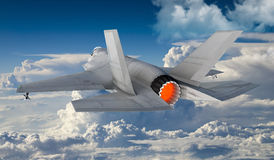F 35 , american military fighter plane.Jet plane. Fly in clouds Stock Photography