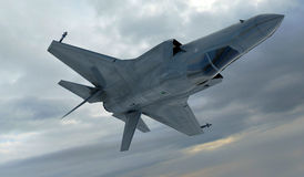 F 35 , american military fighter plane.Jet plane. Fly in clouds.  Royalty Free Stock Images
