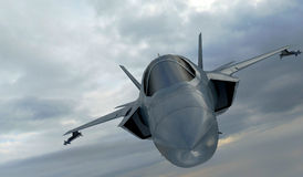 F 35 , american military fighter plane.Jet plane. Fly in clouds Royalty Free Stock Image