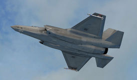 F 35 , american military fighter plane.Jet plane. Fly in clouds Stock Photo