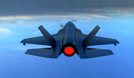 F 35 , american military fighter plane.Jet plane. Fly in clouds.  Stock Images