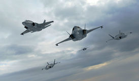 F 35 , american military fighter plane.Jet plane. Fly in clouds Stock Image