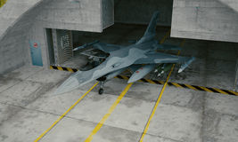 F 16 , american military fighter plane. Military base, hangar, bunker.  Stock Photos