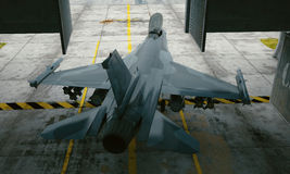 F 16 , american military fighter plane. Military base, hangar, bunker Stock Photos
