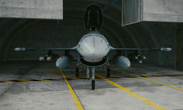 F 16 , american military fighter plane. Military base, hangar, bunker.  Stock Photo