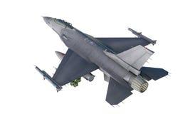 F -16, Amerikaans militair vechtersvliegtuig Jet Plane Vlieg in wolken Stock Foto