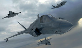 F 35, amerikanisches Militärkampfflugzeug Jet Plane Fliege in den Wolken Stockbild