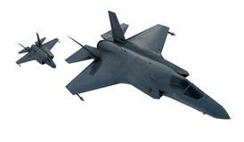 F 35, amerikanisches Militärkampfflugzeug Jet Plane Fliege in den Wolken Lizenzfreie Abbildung