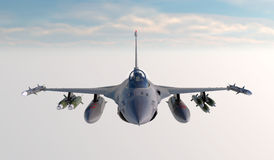 F -16, amerikansk militär kämpenivå Jet Plane Fluga i moln Stock Illustrationer