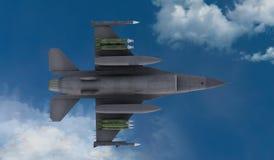 F -16, amerikansk militär kämpenivå Jet Plane Fluga i moln Vektor Illustrationer