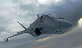 F 35, amerikansk militär kämpenivå Jet Plane Fluga i moln Royaltyfri Illustrationer