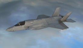 F 35, amerikansk militär kämpenivå Jet Plane Fluga i moln Stock Illustrationer